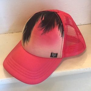 Billabong hot pink tropical trucker hat